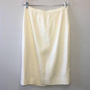 Carolina Herrera Cream Pencil Skirt Size 10